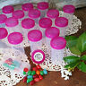 20 JARS PINK Caps 1.5oz Container Bottles Birthday Party Favors #3814 DecoJars