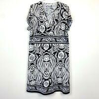 Jane Lamerton Womens Black/White Floral Cap Sleeve Shift Dress Size 18