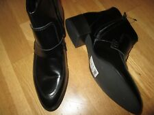 next black leather  low heel ankle boots size 5 eu 38  brand new with tags