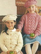 """Knitting Pattern Girls Aran Sweater Cardigan & Beret  20-30""""  436"""