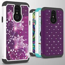 For LG Q7 / Q7 Plus / Q7 Alpha Case Rhinestone Armor Bling Hard Phone Cover