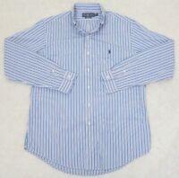 Ralph Lauren Polo Shirt Long Sleeve Large Cotton ButtonUp Dress Black White Pink
