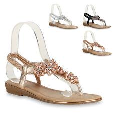 Damen Sandaletten Lack Schlappen Blumen Sommer Schuhe 820778 Trendy Neu