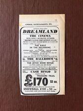 B8c Ephemera 1968 Advert Margate Dreamland The Joyce Bond Revue John James