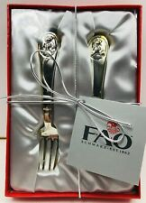 Fao Schwarz Keepsake Silver Plated Child's Teddy Bear 2 Piece Spoon & Fork Set