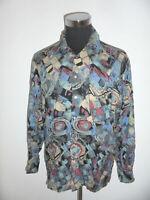 vintage CentreVille Viskose Hemd crazy pattern Langarm oldschool 80s shirt L