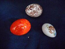 "3 Glass Eggs  2"",2"", and 1.5"" Lovely bunny scene on one egg."