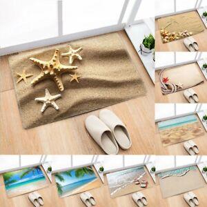 Beach & Sand Flannel Anti-Slip Rug Kitchen Bath Bathroom Shower Floor Door Mat
