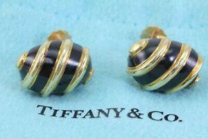 Tiffany & Co Jean Schlumberger Onyx Black Enamel 18k Yellow Gold Earrings 10.3g
