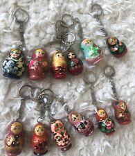 Wooden Hand Painted Russian Doll Babushka Matryoshka Nesting Dolls Keychain Gift