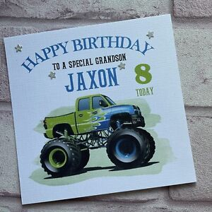 PERSONALISED Handmade BIRTHDAY CARD  Monster Truck SON GRANDSON BROTHER ANY AGE
