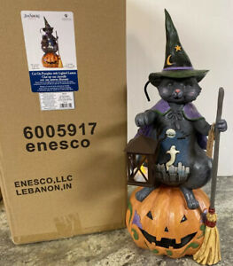 "Jim Shore Large 21"" Witch Black Cat Ghost Door Greeter Halloween Lighted Pumpkin"