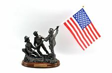 First Responders Firefighter Rescue Raising US Flag Faux Bronze Sculpture