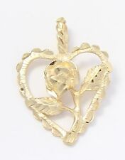 14k Yellow Gold Diamond Cut Rose and Heart Charm Necklace Pendant