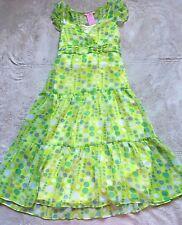 Hype Girls' Sun Dress, Size 12, Yellow Green, White Polka Dots, Lined, Side Zip