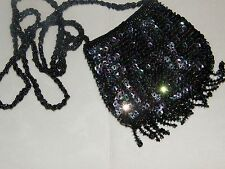 SMALL SEQUIN PURSE EVENING BAG IRIDESCENT BLACK  PERFECT WITH DENIM MATCHES ALL!