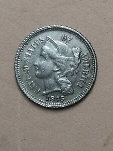 Coin 3 Cents 1875 US Posts (Copper-nickel)
