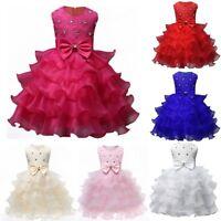 Kids Baby Girl Princess Bow Tutu Dress Wedding Bridesmaid Pageant Party Dresses