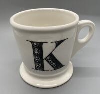 Anthropologie Monogram Ceramic Coffee Cup Mug Letter Initial K White Black