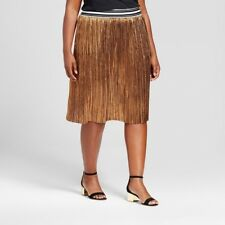 AVA & VIV Women's Plus Pleated Skirt A-Line Metallic Copper Elastic Waist 4X NWT