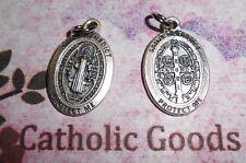 """Medalla De San Benito - St Benedict - Premium Oval Silver tone OX  1"""" Medal"""