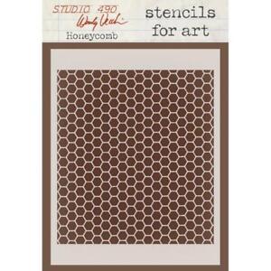 Studio 490 Wendy Vecchi Stencil Honeycomb Art, Craft, Mixed Media, artist