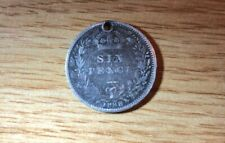 Vintage Victorian Silver Sixpence 1888. (Drilled for use as a charm)