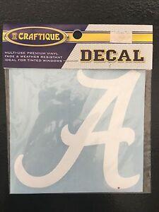 University of Alabama Medium White Script A Decal