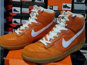 Nike Dunk High Premium Hoop Orange White Gym Fur Brown UT 317892 811 Sz 13