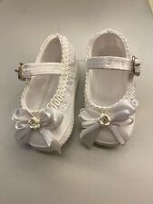 Christening Baptism Baby Girl booties Size Small White