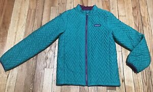 New Patagonia Girls  Quilted  Green/Purple Jacket Size L (12Y)