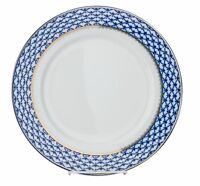 "Set of 6 Russian Cobalt Blue Net Dessert Plates 7.5"" St Petersburg Bone China"