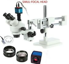 Stereo Zoom Microscopes With Camera And Ring Lights Trinocular Microscope Device