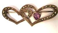 Vintage Oxidized Sterling 925 Love Heart Marcasite Purple Amethyst Pin Brooch