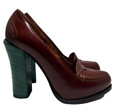 FENDI BROWN OXFORD PUMPS WITH HIGH TIFFANY BLUE HEELS, 40, $995