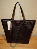Dimoni Chocolate Brown Leather Large Tote Handbag Purse NEW Spain Business Work