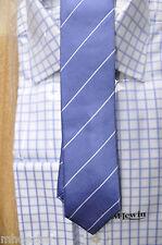 Mens Tie - John Francomb, TM Lewin  - Blue White BRANDO    Silk,