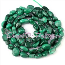 "4-7mm Natural Freeform Shape Green Malachite Gemstone Spacer Beads Strand 15"""