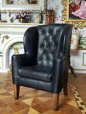 Dollhouse Artisan Reverie Miniatures Genuine Leather Wing Chair Signed 1:12