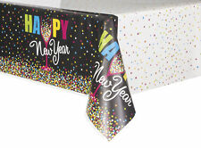 Black & Bright Colour New Year Plastic Party Tablecover Celebration