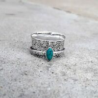 Turquoise 925 Sterling Silver Spinner Ring Meditation,statement ring Size SA8989