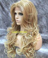 Long Wavy Bangs Medium Blonde Mix Full Lace Front Wig Heat Ok Hair Piece NWT