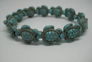 New Hawaiian Sea Turtles Honu Stretch Bracelet Turquoise Color Stone Beads Charm
