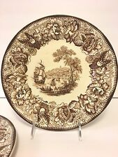 "Set/2 Royal Staffordshire A.H. Wilkinson Safe Harbour Brown 10"" Plates England"