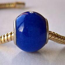 European large hole style bead Royal Blue Mountain Jade SP X 1