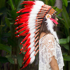 Long Feather Headdress- Native American Indian Inspired -ADJUSTABLE- Red Duck