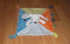Doudou OBAÏBI comme NEUF lapin chien à étoiles, bleu, blanc, orange & rayé vert