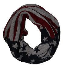 Damen Loopschal Strickschal USA Sterne grau Schlauchschal Loop Schal