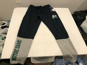 NWT Champion Notre Dame Mens Notre Dame Licensed Sweatpants Navy / Gray LARGE