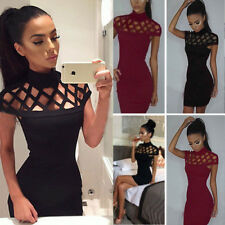 Women Choker High Neck Sexy Bodycon Summer Butt Wrapped Party Dress Plus Size